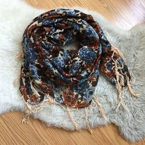 Accessories - Blue and Rust Orange Rose Print Fringe Scarf